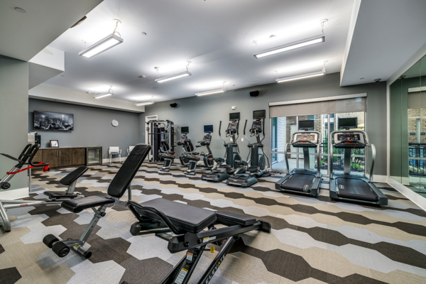 fitness center at Overture Providence Apartments