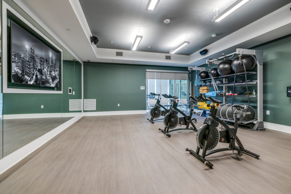 yoga/spin studio at Overture Providence Apartments