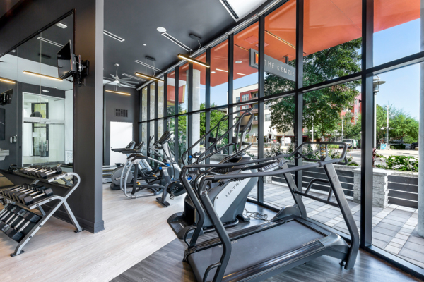 fitness center at The Kenzie at the Domain Apartments