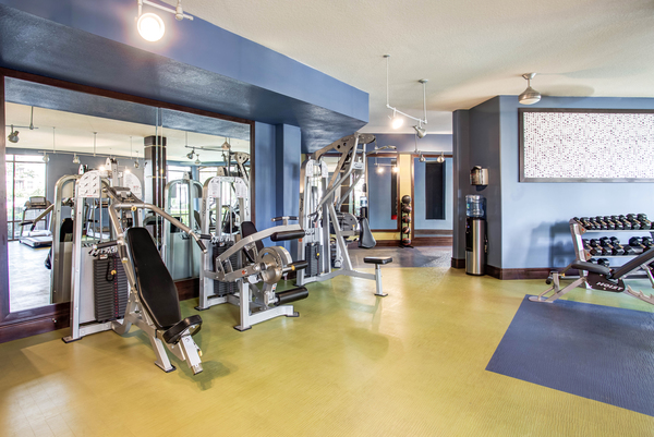 fitness center at The Four at Deerwood Luxury Apartments