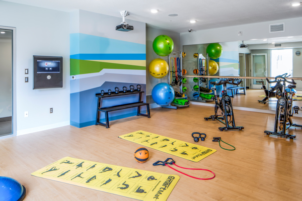 yoga/spin studio at Velo Apartments
