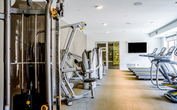 fitness center at Velo Apartments
