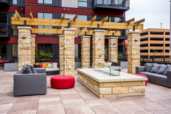 fire pit at Velo Apartments