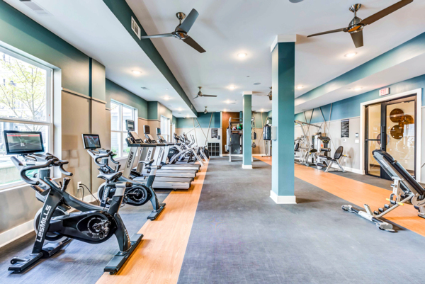 fitness center at The Walcott Apartments