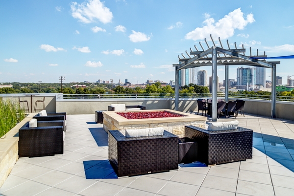 fire pit at Coldwater Luxury Apartments