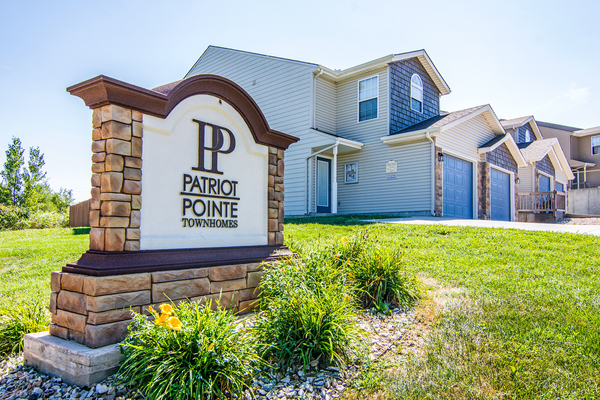 exterior signage at Patriot Pointe Townhomes