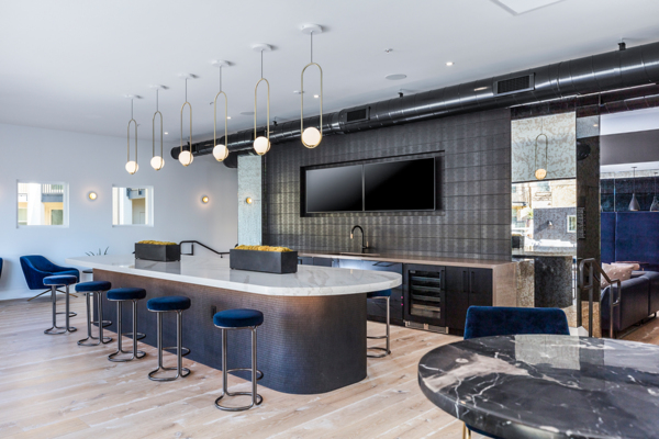 clubhouse/bar at Revela Apartments