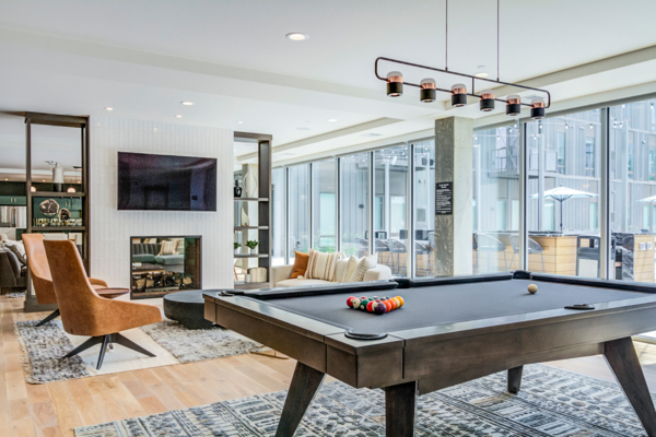 clubhouse game room at The Fenley Apartments
