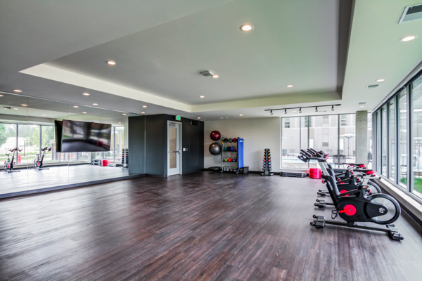 yoga/spin studio at The Fenley Apartments