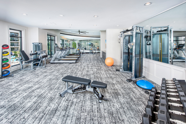 fitness center at View at Woodstock Apartments