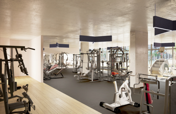 fitness center at Biscayne 112 Apartments