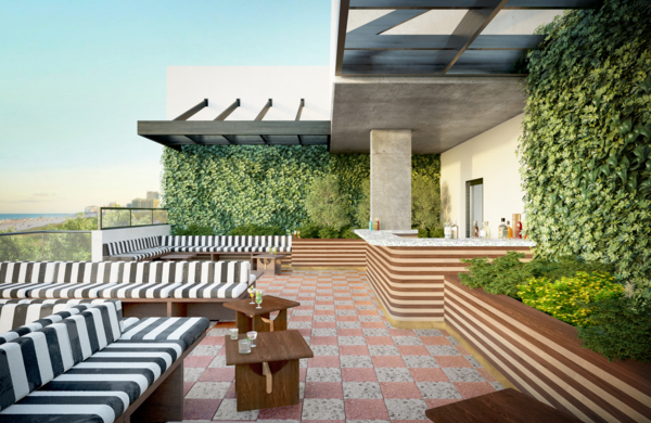rooftop deck at Biscayne 112 Apartments
