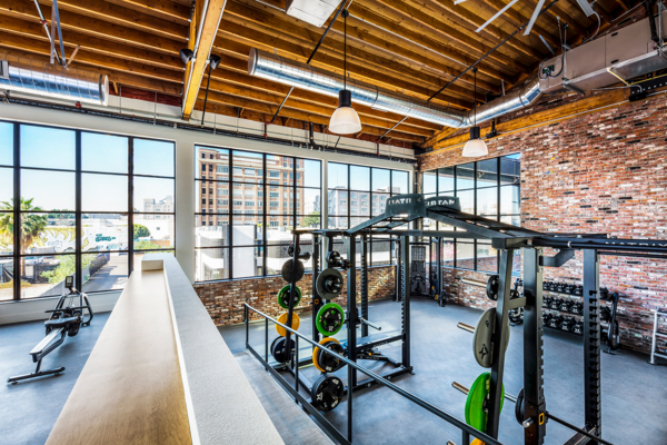 fitness center at AMP Lofts Apartments