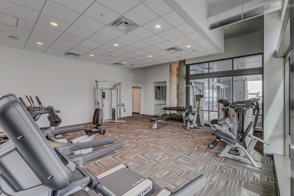 fitness center at Spruce Apartments