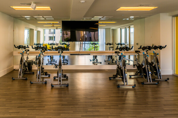 fitness center at Baker Block Apartments