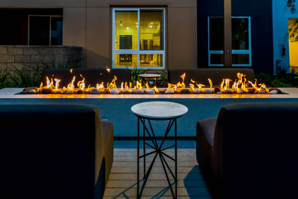 fire pit at Baker Block Apartments