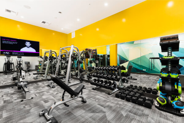 fitness center at Elara at the Market Apartments