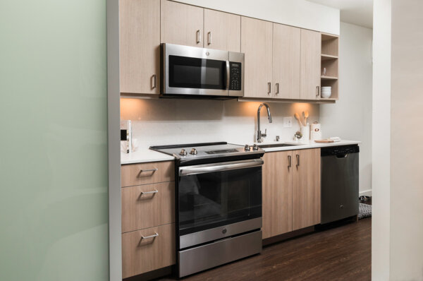 kitchen at Elara at the Market Apartments