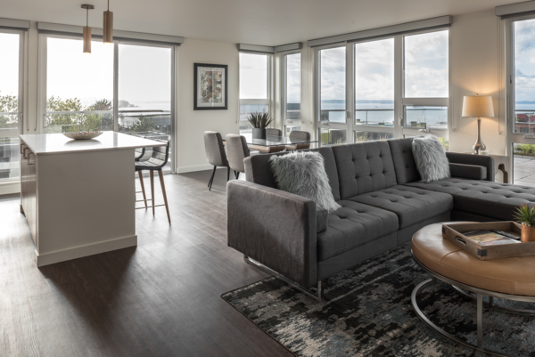 living room at Elara at the Market Apartments