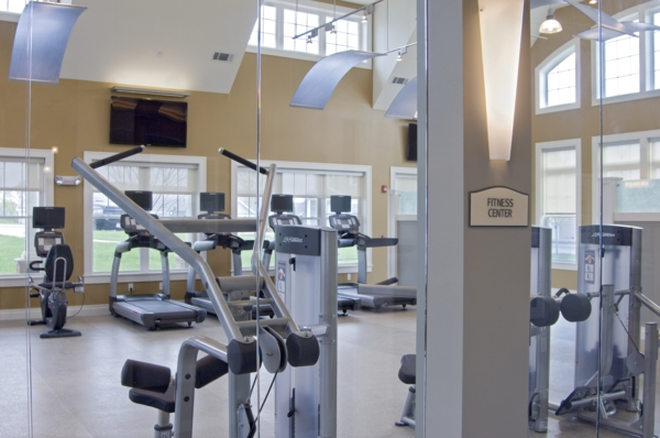 fitness center at The Preserve at Cohasset Apartments