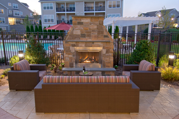 fire pit at The Preserve at Cohasset Apartments