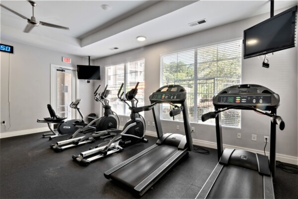 fitness center at Centerview at Crossroads Apartments