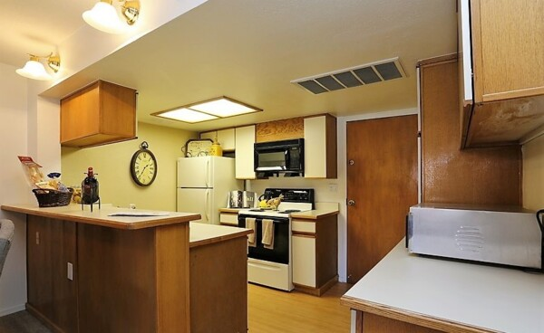 kitchen at Glo Apartments