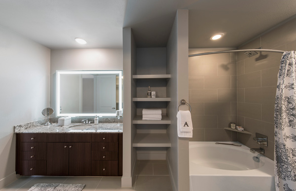 bathroom at The Alexan Apartments