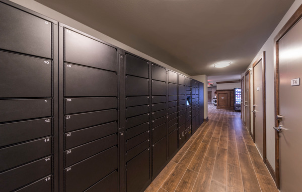 mail room at The Alexan Apartments