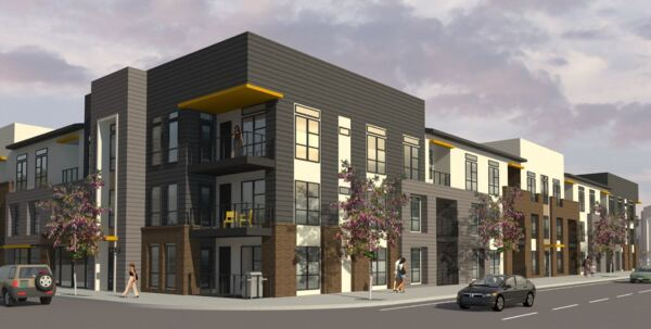 exterior rendering at Encore Evans Station Apartments