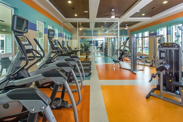 fitness center at Elan Gateway Luxury Apartments