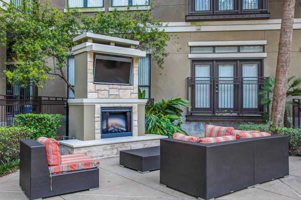 fire pit at Lofts at the Ballpark Apartments