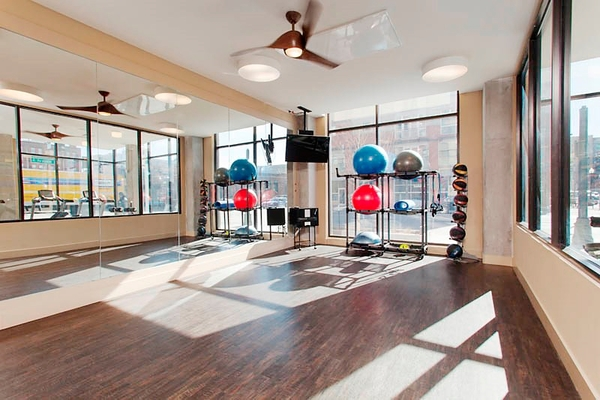 fitness center at The Douglas Apartments