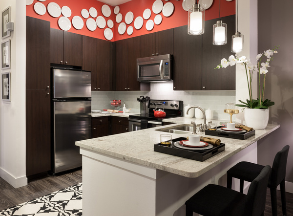 kitchen at Arpeggio Victory Park Apartments
