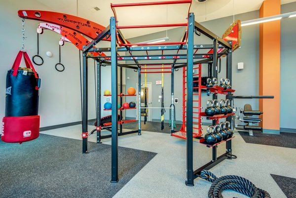 fitness center at 300 Swift Luxury Apartments