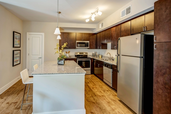kitchen at 300 Swift Luxury Apartments