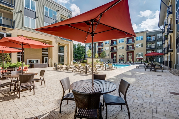 patio at 300 Swift Luxury Apartments