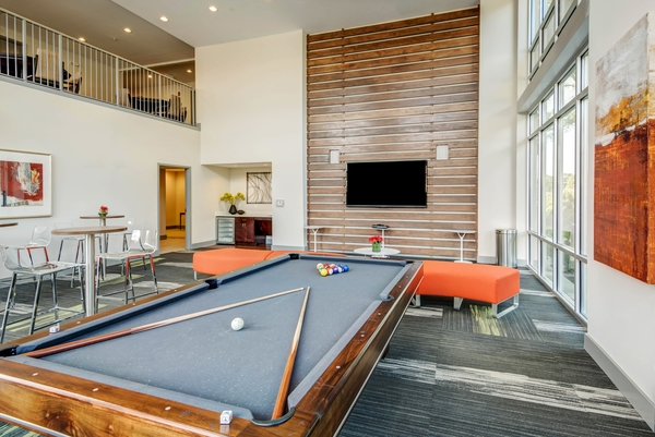game room at 300 Swift Luxury Apartments