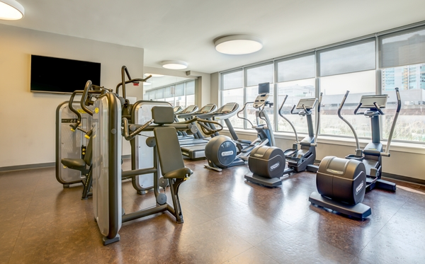 fitness center at E2 Apartments
