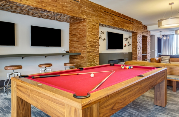game room at E2 Apartments