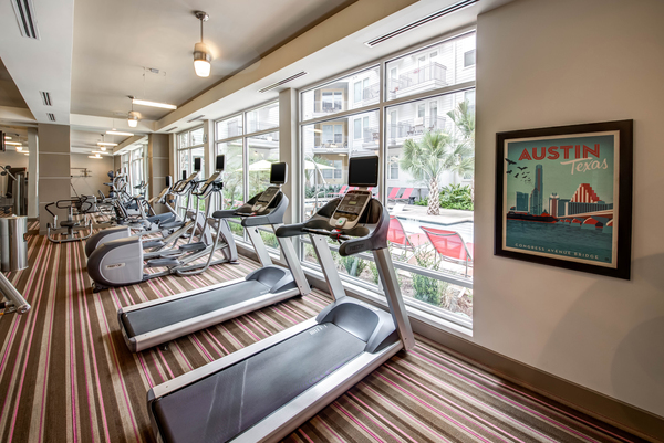 fitness room at 7East Apartments