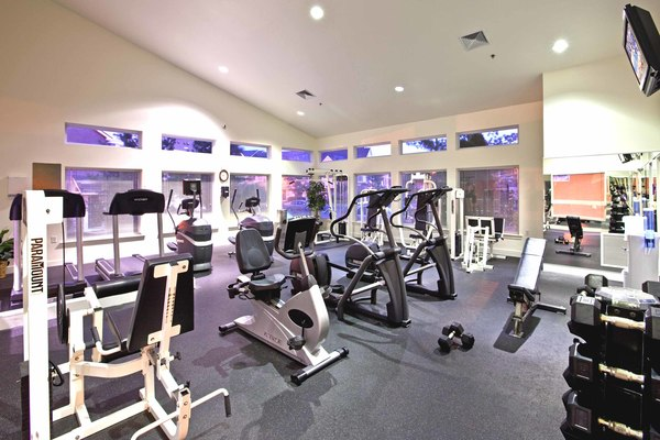 fitness center at Burrough's Mill Apartments