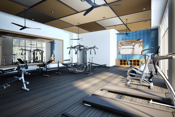 fitness center rendering at Elan Mountain View Luxury Apartments