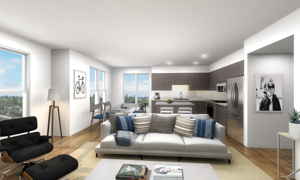 living room rendering at Elan Mountain View Luxury Apartments