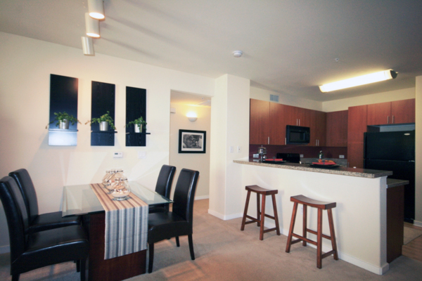 dining room at Trio Apartments