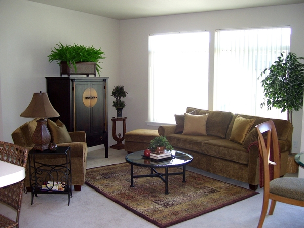 living room at Lodge at Maple Grove Apartments