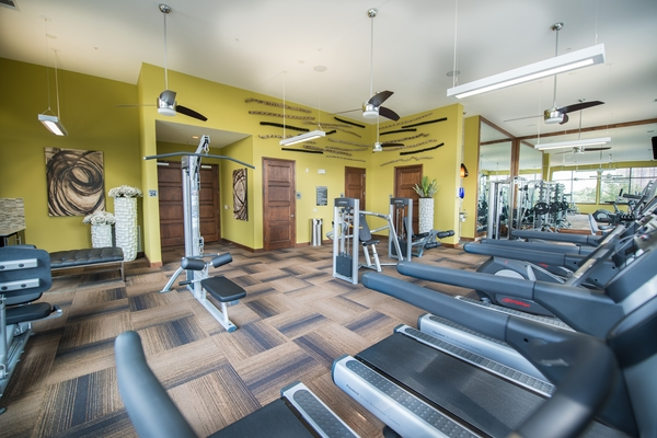 fitness center at Elan City Centre Luxury Apartments