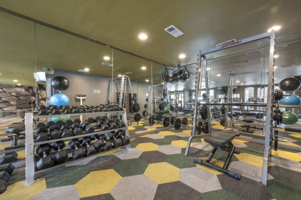 fitness center at SKYE of Turtle Creek Apartments