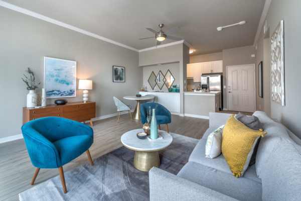 living room at SKYE of Turtle Creek Apartments
