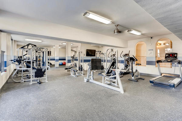 fitness center at The Lodge Apartment Homes